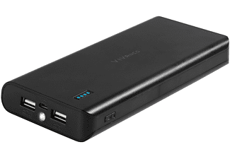 Power Bank - Vivanco 16000 mAh, 2 ranuras USB, Carga simultánea, Linterna LED, Negro