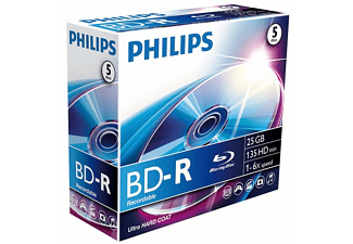 Disco Blu-ray grabable - Philips BD-R BR2S6J05C/00, 5 unidades, 25 GB