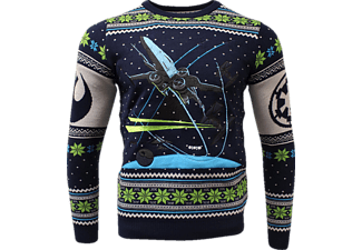 NUMSKULL Star Wars X-Wing: Battle of Yavin Xmas Pullover S Pullover, Blau