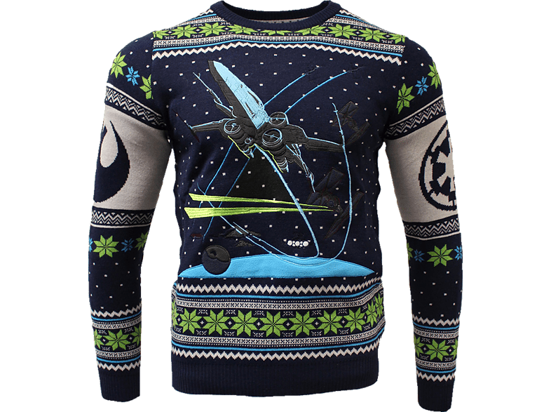 NUMSKULL Star Wars X-Wing: Battle of Yavin Xmas Pullover M Pullover, Blau