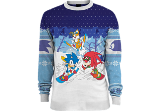 NUMSKULL Sonic the Hedgehog Skiing Xmas Pullover XL Pullover, Weiß/Blau