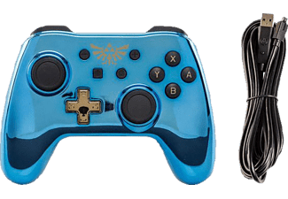 POWER A Switch Wired Chrome Blue Zelda, Controller, Blau Gold
