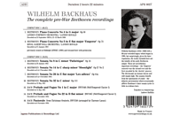 Wilhelm Backhaus - The complete pre-War Beethoven recordings [CD]
