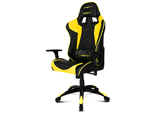 Silla gaming - Drift DR300, Acolchado, Reposabrazos, Regulable, Amarillo y negro