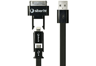 Cable combo 3 en 1 - Silver HT 93630, Micro USB, Ligtning, 8pin, 30pin, color negro