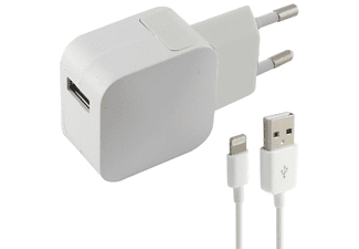 Cargador de red - Ksix B0925CD02, Cable Lightning-USB, Para iPhone, Blanco
