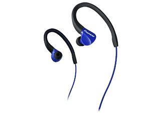 Auriculares deportivos - Pioneer SE-E3-L, IPx2, Enganche flexible, Cable 1.2 m, Azul