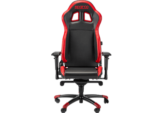 Silla Gaming - Sparco Grip, Respaldo y reposabrazos regulable, Rojo y negro