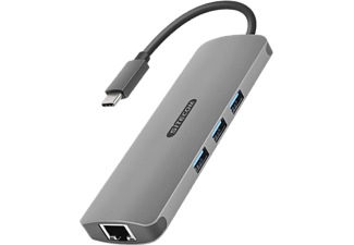 SITECOM Adapter USB-C - Ethernet - HDMI + kaartlezer + USB-HUB 3.0 3 ports (CN-382)