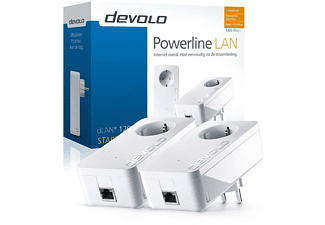 Kit de dos adaptadores PLC - Devolo dLAN 1200+, hasta 1200 Mbps, enchufe integrado, color blanco
