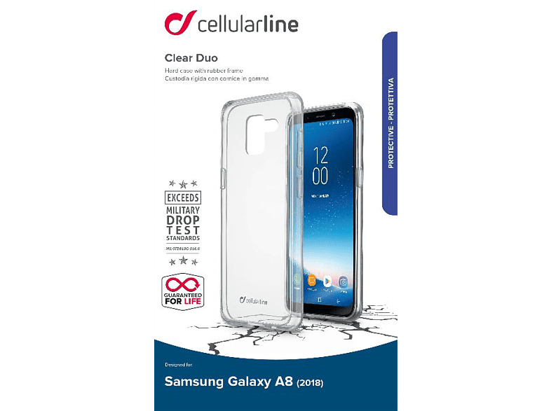 CELLULAR LINE  Clear Duo Backcover Samsung Galaxy A8 (2018) Thermoplastisches Polyurethan Transparent | 08018080317255