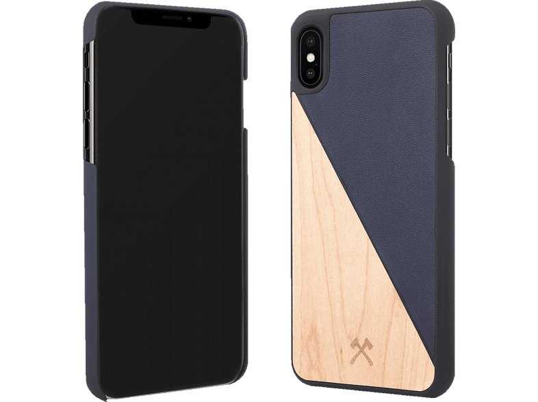 WOODCESSORIES  Ecosplit Backcover Apple iPhone XS Max Kunstleder, Holz, Silikon Braun/Schwarz | 04260382634170