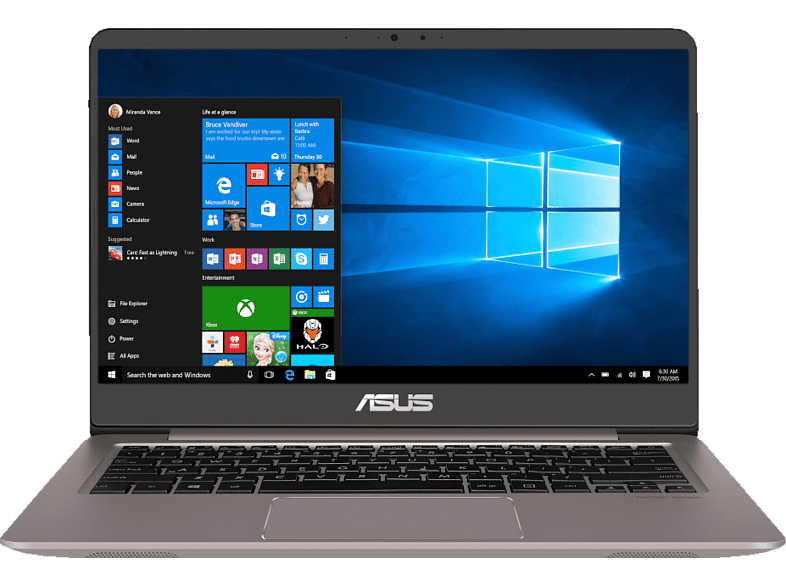 ASUS  UX410UF-GV168T, Notebook, Core™ i7 Prozessor, 8 GB RAM, 1 TB HDD, 256 GB SSD, GeForce® MX130, Quartz Grey | 04718017173100