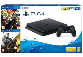 Consola - PS4 Slim 500 GB, + Dragon Ball Xenoverse y Xenoverse 2 + Darksouls 3 + The Witcher 3