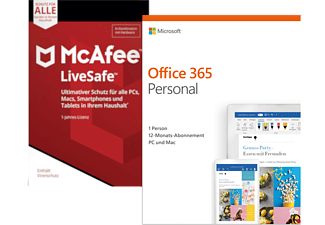 Microsoft Office 365 Personal 1 User 1 Jahr + McAfee LiveSafe Device Attach 1 User 1 Jahr