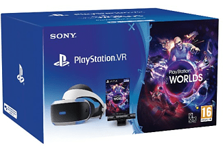 Gafas de Realidad Virtual - Sony PlayStation VR, Cámara V2 + PS4 VR Worlds (Descarga), Para PS4