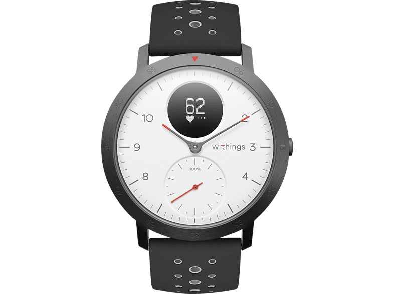 WITHINGS  Steel HR Sport Hybrid Smartwatch, Silikon, 230 mm, Weiß/Schwarz