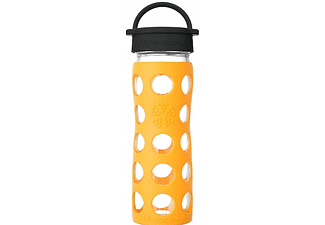LIFEFACTORY Glas-Trinkflasche 475 ml mit Classic Cap marigold