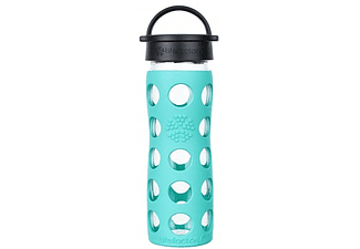 LIFEFACTORY Glas-Trinkflasche 475 ml mit Classic sea green