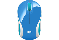 LOGITECH M187 Mini Maus, Blau/Orange/Weiß