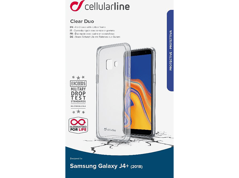 CELLULAR LINE Clear Duo , Backcover, Samsung, Galaxy J4+ (2018), TPU- Material, Transparent