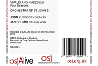 Schmolck,Jan/Lubbock,John/Orchestra of St John's - Four Seasons [CD]