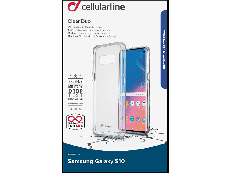 CELLULAR LINE Clear Duo Backcover Samsung Galaxy S10 Thermoplastisches Polyurethan Transparent
