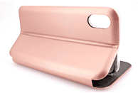 AGM 27689 Smart , Bookcover, Apple, iPhone X, iPhone XS, Kunstleder, Stoff, Thermoplastisches Polyurethan, Rose Gold