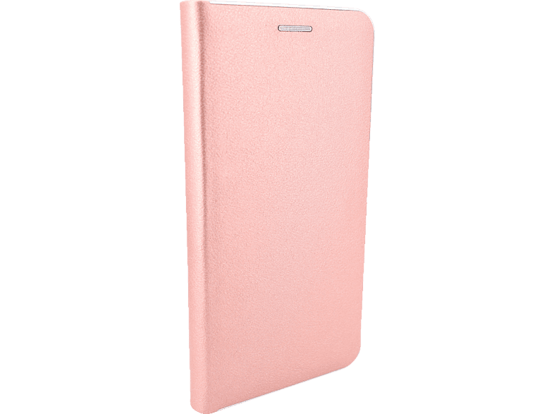 AGM 27681 Business , Bookcover, Apple, iPhone X, iPhone XS, Kunstleder, Stoff, Thermoplastisches Polyurethan, Kunststoff, Rose Gold mit silberfarbener Kante
