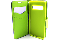 AGM 27909 Fashion , Bookcover, Samsung, Galaxy S10, Obermaterial Kunstleder, Thermoplastisches Polyurethan, Dunkelblau/Lime