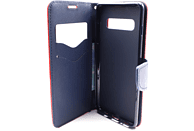 AGM 27929 Fashion , Bookcover, Samsung, Galaxy S10+, Obermaterial Kunstleder, Thermoplastisches Polyurethan, Rot/Dunkelblau