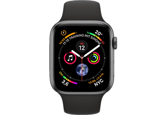 APPLE Watch Series 4 (GPS + Cellular) 44 mm - Montre intelligente (140-210 mm, Plastique, Bracelet: Noir / Boîtier: Gris sidéral)