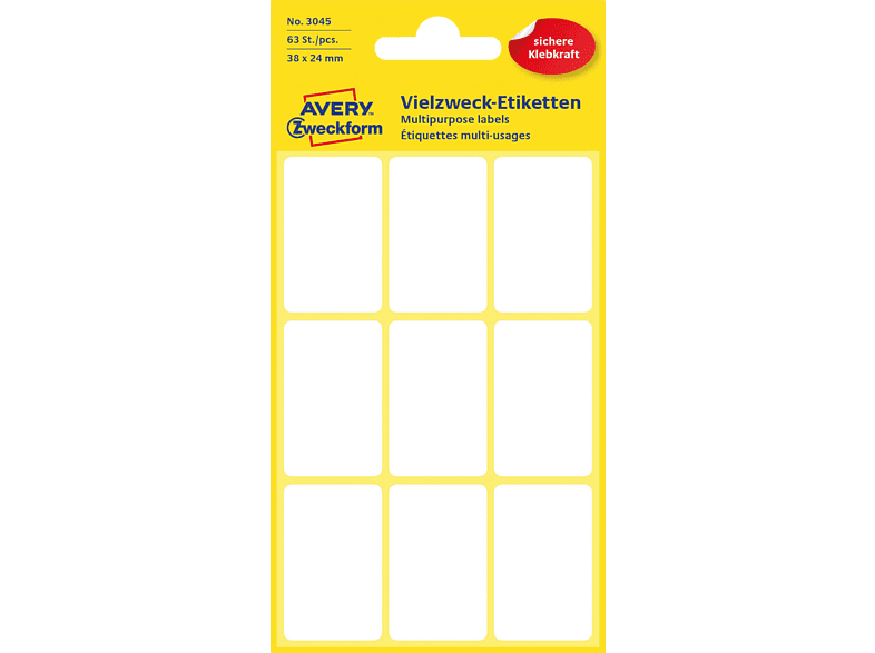 AVERY ZWECKFORM 3045  Mini-Organisations-Etiketten  38x24 mm  63 Etiketten / 7 Bogen