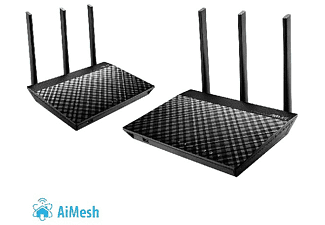 Kit de Routers - ASUS AiMesh WiFi System AC1900, AiProtection Pro, QoS, Mesh Roaming, Triple VLAN