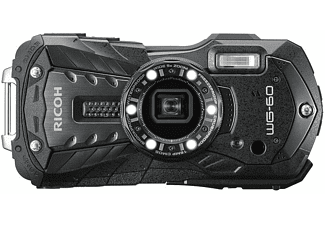 Cámara compacta acuática - Ricoh WG-60, 16 MP, Vídeo Full HD, Sumergible hasta 14 m, Negro