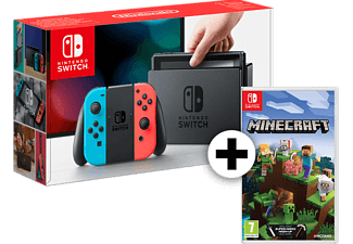 NINTENDO Switch με Red- Blue Joy-Con μαζί με Minecraft Bedrock Edition