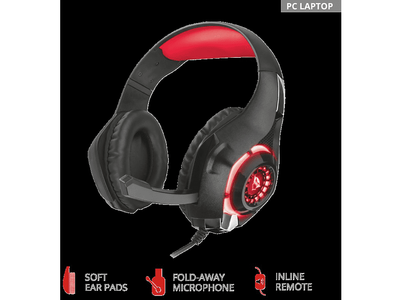 TRUST Trust GXT 313 Nero Beleuchtetes Gaming-Headset Gaming Headset Schwarz/Rot