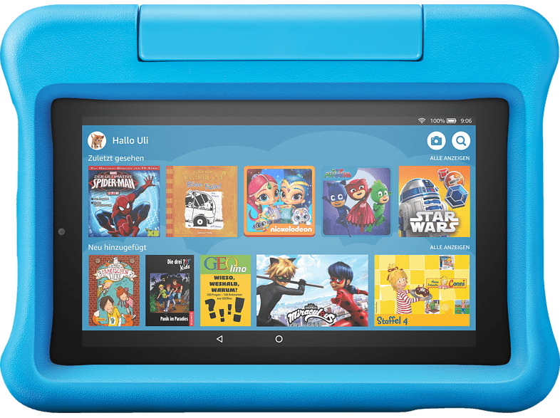 AMAZON Fire 7 Kids Edition, Tablet , 16 GB, 7 Zoll, Schwarz/Blau