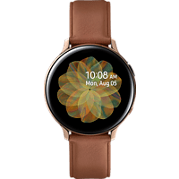 SAMSUNG  Galaxy Watch Active2 Stainless Steel 44mm (LTE) GO Smartwatch Edelstahl, Echtleder, M/L, Gold