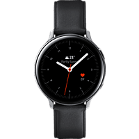 SAMSUNG  Galaxy Watch Active2 Stainless Steel 44mm (LTE) SI Smartwatch Edelstahl, Echtleder, M/L, Silver