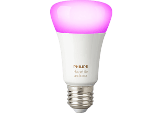 PHILIPS Hue White & Col. Amb. E27 Einzelpack Bluetooth LED Lampe, Weiß