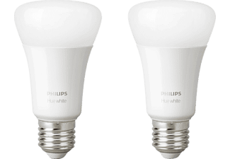 PHILIPS Hue White E27 Doppelpack Bluetooth LED Lampen, Weiß