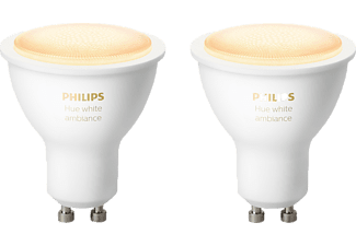 PHILIPS Hue White Amb. GU10 Doppelpack Bluetooth LED Lampen, Weiß