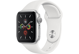APPLE Watch Series 5 (GPS + Cellular) 40mm, Smartwatch, Fluorelastomer, 130 - 200 mm, Armband: Weiß, Gehäuse: Silber