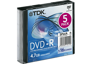 TDK Pack 5 DVD-R 4.7 GB 16x